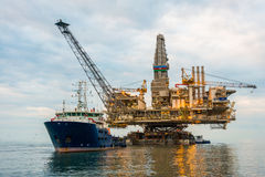 Oil rig platform. In the calm sea Stock Images