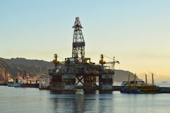Oil rig platform at dawn Tenerife Canary Islands stock image