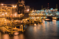 Oil rig platform. In the night Stock Images