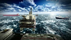 Oil rig  platform stock video footage