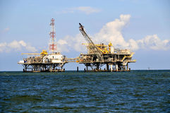 Oil Rig Platfrom. Double oil rig platform Mobile Bay royalty free stock image