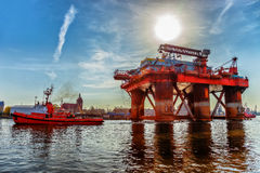 Oil Rig in port Stock Images