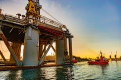 Oil Rig in port Stock Image