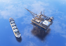Oil Rig. Oil production into the sea from above royalty free illustration