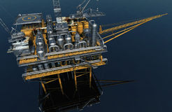 Oil Rig. Oil production into the sea from above.3d render stock illustration