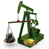 Oil rig pump as scales, 3d Royalty Free Stock Photography