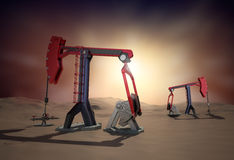 Oil Rig : Pump jack in the desert. 3d image Royalty Free Stock Photo