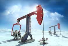 Oil Rig : Pump jacks in the north Royalty Free Stock Image