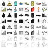 Oil rig, pump and other equipment for oil recovery, processing and storage.Oil set collection icons in cartoon style. Vector symbol stock illustration Stock Images