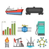 Oil rig, pump and other equipment for oil recovery, processing and storage.Oil set collection icons in cartoon style. Vector symbol stock illustration Stock Photos