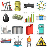Oil rig, pump and other equipment for oil recovery, processing and storage.Oil set collection icons in cartoon style Stock Photos