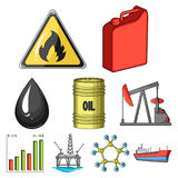 Oil set collection icons in cartoon style. Oil rig, pump and other equipment for oil recovery, processing and storage.Oil set collection icons in cartoon style Stock Images