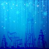 Oil rig and pump over snowfall Stock Photos