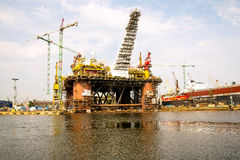 Oil rig. Reconstruction of a drilling rig on the floating refineries Royalty Free Stock Photos