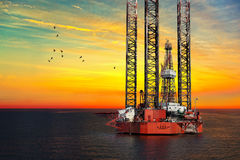 Oil Rig at sea Stock Photography