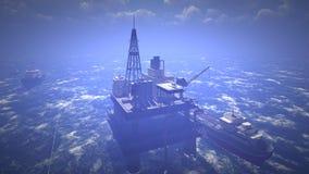 Oil rig at sea Royalty Free Stock Photo