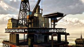 Oil rig at sea Royalty Free Stock Photos
