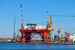 Oil Rig in the shipyard Stock Images