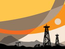 Oil rig silhouettes. And abstract sky, color illustration Stock Images