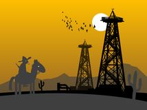 Oil rig silhouettes Stock Image