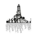 Oil rig silhouettes on white background. Royalty Free Stock Image