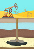 Oil Rig with soil layers Stock Photo