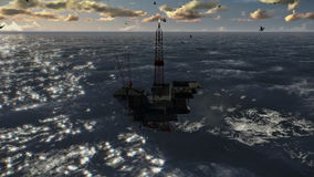 Oil Rig in stormy ocean, cam fly, stock footage stock footage