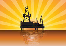 Oil rig on sunset. Oil rig sea sunset quality Royalty Free Stock Photography