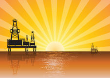 Oil rig on sunset. Oil rig sea sunset quality Stock Photography