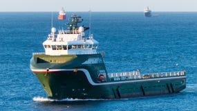Oil rig Supply Vessel, Aberdeen, Scotland. Green Supply Vessel North sea, Aberdeen, Scotland Stock Photo