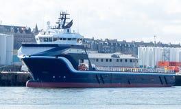 Oil rig Supply Vessel. In docks Stock Photo