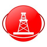 Oil rig vector illustration, Red icon Stock Photos