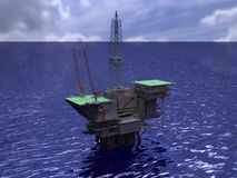 Oil rig on water rendering Stock Photos