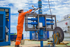 Oil rig worker inspect and setting up top side tools for safety first to perforation oil and gas production well. Offshore oil and gas industry, oil rig worker Stock Images