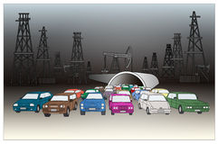 Oil Rigs and Cars. Stock Images