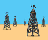 Oil rigs at the desert Royalty Free Stock Photos