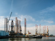 Oil rigs in Esbjerg harbor, Denmark Stock Photography