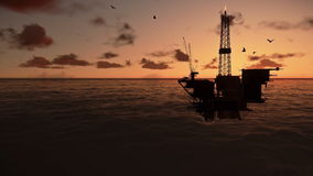 Oil rigs in ocean. At sunrise, timelapse stock footage