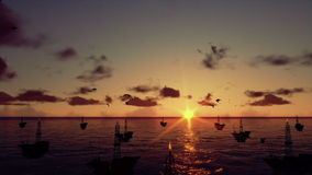 Oil rigs in ocean, time lapse sunrise, camera tilt, stock footage. Video royalty free illustration