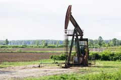 Oil rigs work in the field Royalty Free Stock Image