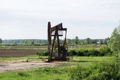 Oil rigs work in the field Stock Photos