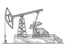 Oil rocking, oil pump on a white background Stock Photos