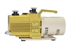 Oil rotary vane pump or vacuum pump for high pressure for industrial isolated on white background.  stock photo