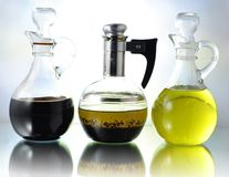 Oil salad dressing and vinegar Stock Photography