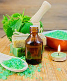 Oil and salt with nettles in mortar on board Royalty Free Stock Photography