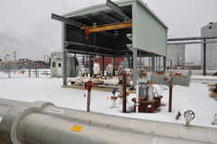 Oil sands pump facilities stock photo