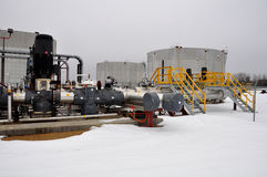 Oil sands pump facilities. Oil sands pump facitlities in northern alberta, which pumps controrversial bitumen to the United states Royalty Free Stock Images