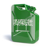 Oil of Saudi Arabia. Saudi arabian flag painted on gas can. Royalty Free Stock Photo