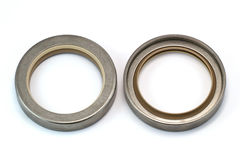 Oil Seal. Stainless housing oil seal front side and back side Royalty Free Stock Photos