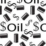 Oil seamless pattern. Money and barrel Royalty Free Stock Photography